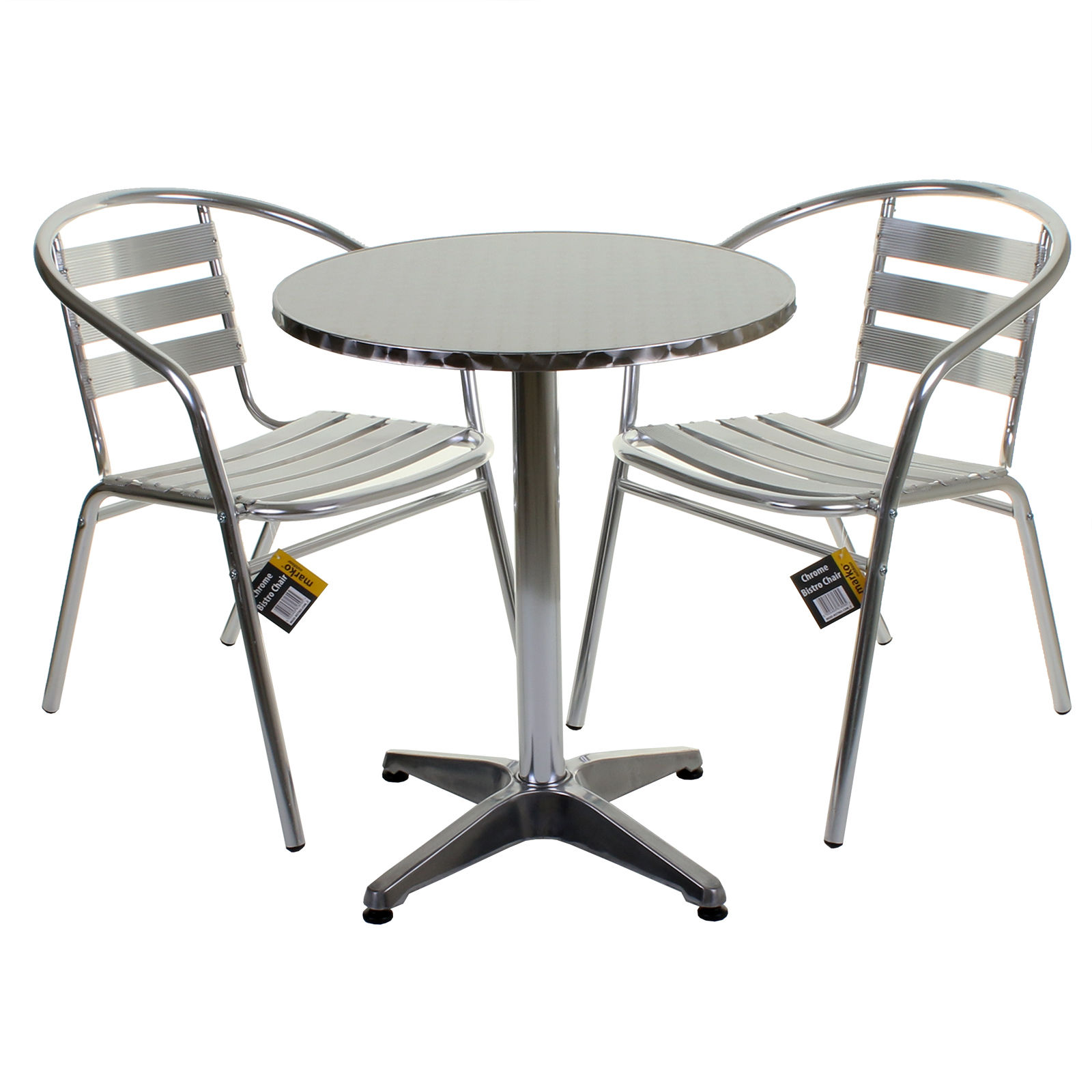 aluminium lightweight chrome bistro sets round square tables stacking chairs ebay. Black Bedroom Furniture Sets. Home Design Ideas